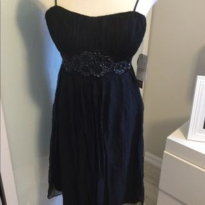 Nine West Black Cocktail Dress with Beaded Waist